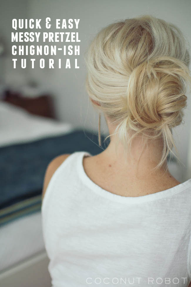 Messy Pretzel Chignon Ish Hair Tutorial
